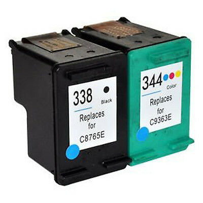 2 Tintas Para Hp 338 Y 344 Negra Y Color Remanufacturado Compatible Xl