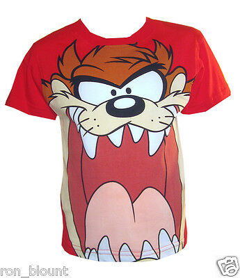 Official Kids Taz  Short Sleeve  Blue/Red Looney Tunes Cotton T-Shirt Age 2-8Y