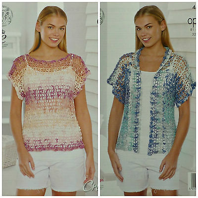 CROCHET PATTERN Ladies Sleeveless Lacy Top and Lacy Jacket Opium King Cole 4496