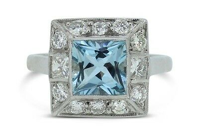 Vintage Aquamarine and Diamond Cluster Ring 0.85ct + 1.25ct 18ct White Gold Ring