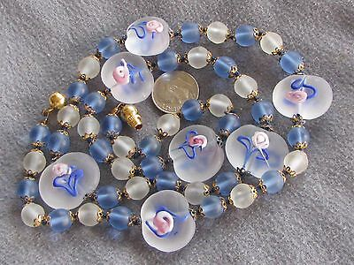 """26.5"""" Vintage Venetian Murano Glass Wedding Cake Bead Necklace Blue Frosted"""