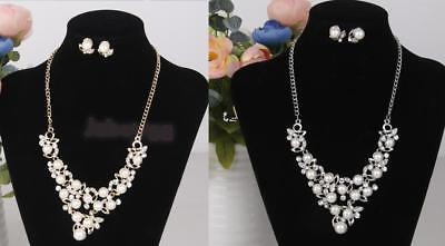 Pearl Rhinestone Diamante Clavicle Necklace and Earring Jewelry Set Siver/Gold