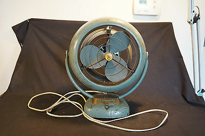Old Vtg Vornado Industrial Table Fan Electric Green Gold Tone