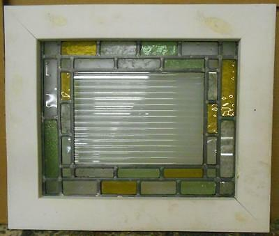 "OLD ENGLISH LEADED STAINED GLASS WINDOW Abstract Squares 20"" x 17"""