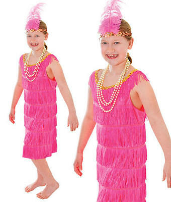 Childrens Kids Pink Flapper Fancy Dress Costume Childs Girls 20s Outfit L