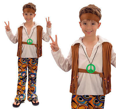 Childrens Hippy Boy Fancy Dress Costume 60S 70S Retro Hippie Outfit M