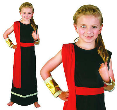 Childrens Black Roman Girl Toga Fancy Dress Costume Kids Childs Outfit M