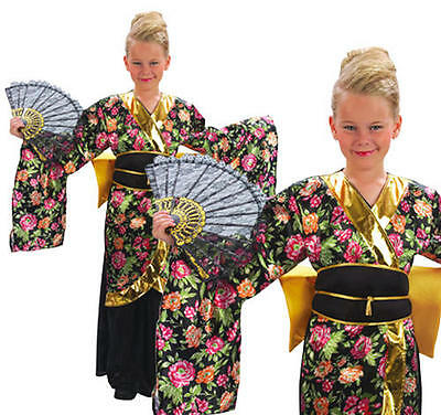 Childrens Geisha Girl Fancy Dress Costume Oriental Japanese Kids Outfit M