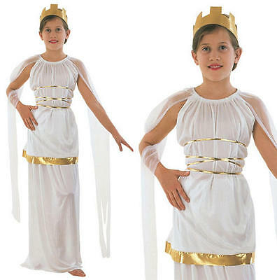 Childrens Grecian Fancy Dress Costume Toga Girls Kids Greek Goddess Outfit M