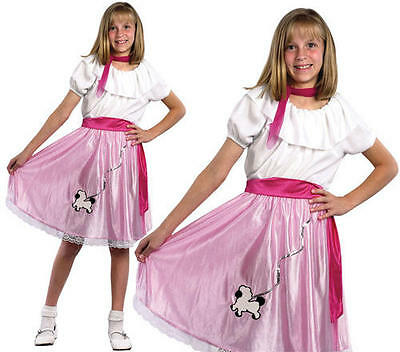 Childrens Kids Pink Ladies Fancy Dress Costume 50s Grease Girl Outfit L