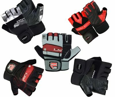 EMRAH Leather Gel Weight Lifting Gym Fitness Body Building Gloves Training Glove