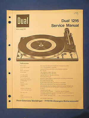 Dual 1216 Turntable Service Manual Factory Original Factory Issue