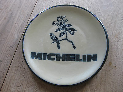 vintage MICHELIN ceramic plate - 10 inch - bird - advertising blue tires guide