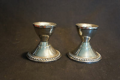 Old Vtg Pair Of Decorative Sterling Silver Short Candlesticks Holders