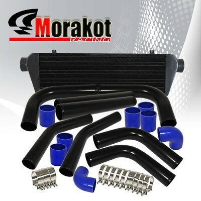 "28"" Inch Turbo Intercooler Black+3"" Aluminum Piping Kit Blue Hose+T-Bolt Clamps"