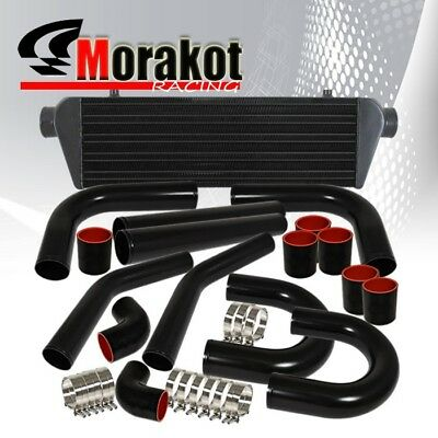 "28"" Turbo Intercooler+2.5"" Inch Aluminum Black Piping U-Pipe Kits+Coupler+T-bolt"