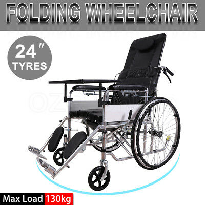 "24"" Folding Wheelchair Manual Mobility Wheel Chair Seat Belt Handle Park Brakes"