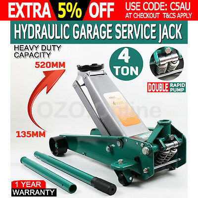 4 Ton Hydraulic Trolley Jack Lifts 4T 4000kg Low Profile Quick Lift Dual Pump