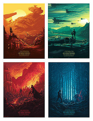 STAR WARS IMAX SET OF 4 The Force Awakens Large PHOTO Posters Set A4 A3 A2 Rare