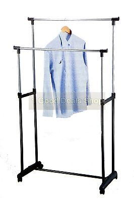 Double 2 Pole Clothes Hanging Rack Rail Hanger Storage Retail Shop Display Stand
