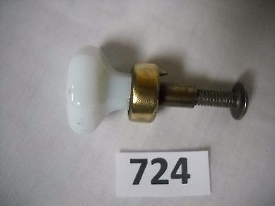 Antique Small White Glass Drawer Knob Pull Brass Base