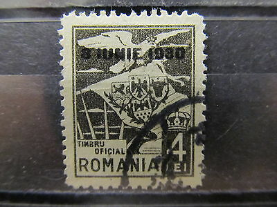 A2P4 ROMANIA OFFICIAL STAMP OPTD WMK WAVY LINES 1930 4l USED