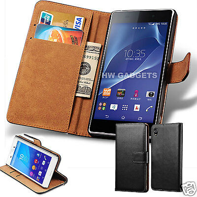 Genuine Real Leather Slim Flip Wallet Case Cover for Sony Xperia Mobile Phones