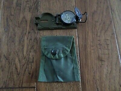 U.s Military Style Metal Compass Liquid Filled Slide Ruler With Nylon Od Pouch