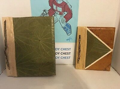 """SET OF Hand Crafted Banana Leaf Address Book, 5"""" x  7"""" And Large Photo Album"""
