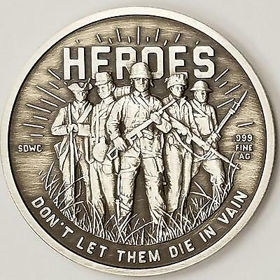 Heroes SDWC War Limited Only 250 Final Release .999 Fine Silver Antique Proof