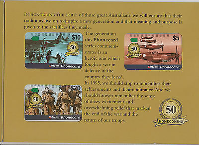 Phonecards Australia Homecome 50th anniversary WW2 set of 3 limited edition pack