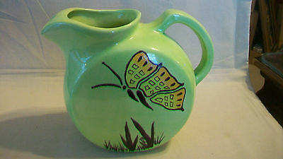 Vintage Hand Made Pottery Ceramic Pitcher, Light Green With Butterfly