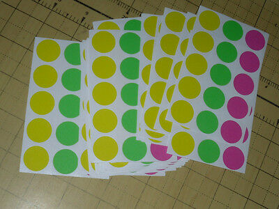 "3015 Garage Yard Sale Rummage Stickers Price Label Neon 3/4"" /see My Other Items"