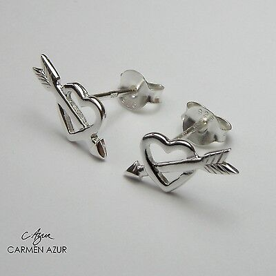 Solid 925 Sterling Silver Stud Earrings Heart with Arrow New with Gift Bag