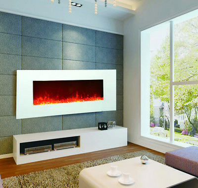 """1500W 50"""" White Wall Mounted Electric Fireplace, Heater, Fire, Flame"""