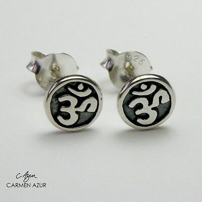 Solid Sterling Silver 925 Stud Earrings, Ear Studs Round OHM New with Gift Bag