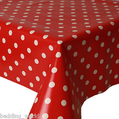 Pvc Table Cloth Polka Dot Red White Spots Wipe Clean Protector Plastic Vinyl