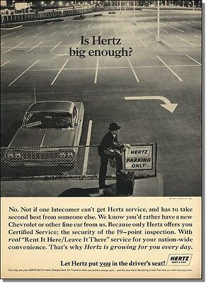 1964  Chevy Impala in empty parking lot - is Hertz big enough - vintage print-ad