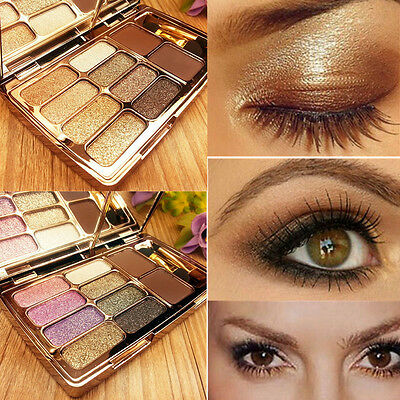 Set NEW Shimmer 10 Color Palette Cream Cosmetic Eye Shadow + Eyebrow  Makeup