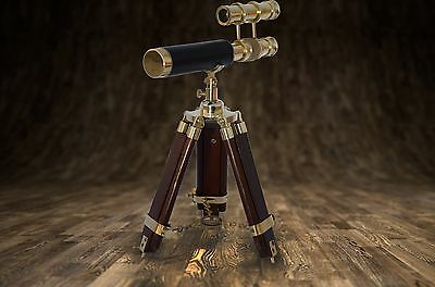 Double Barrel Brass & Teak Wood Telescope/Spyglass With Stand