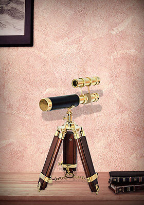 Double Barrel Brass Telescope With Wooden Stand