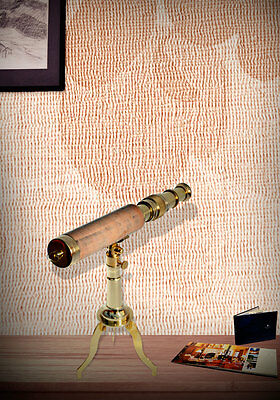 Nautical Brass Leather Stitched Telescope With Brass Tripod Stand