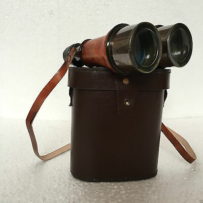 Designe Black Antique Nautical Solid Brass  Leather  Binocular With Leather Case