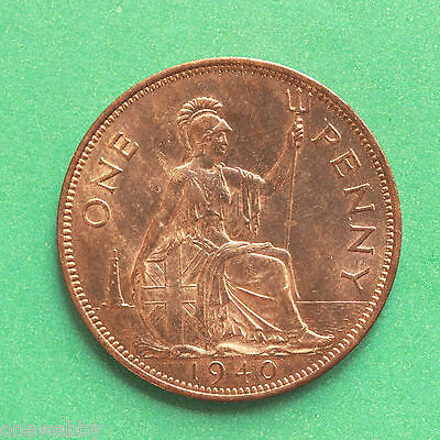 1940 George VI Penny UNC Uncirculated Full lustre SNo40599