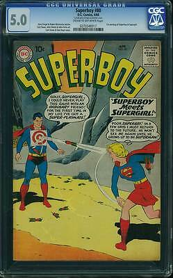Superboy # 80 First meeting of Superboy and Supergirl  !  CGC 5.0 scarce book !