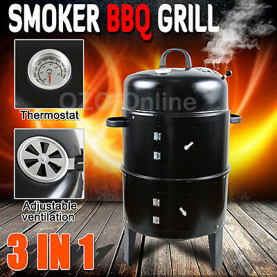 3in1 Portable BBQ Charcoal Grill Barbecue Smoker Roaster Garden Outdoor Cooking