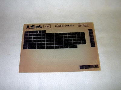 Kawasaki Kl250 Kl 250 D7  (Klr250) Gen Part Catalogue Microfiche