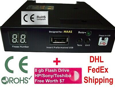 Floppy to USB Converter for Haas CNC Machines + 8 gb