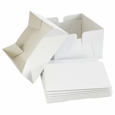 "White Folding Cake Boxes & Lid - 5 Pack - 6"" 8"" 9"" 10"" 11"" 12"" 13"" 14"" Inch"