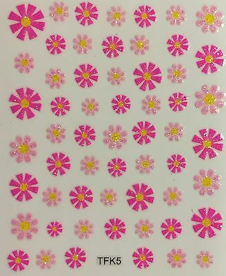 Nail Art 3D Decal Stickers Glittery Pastel & Hot Pink Flowers TFK5